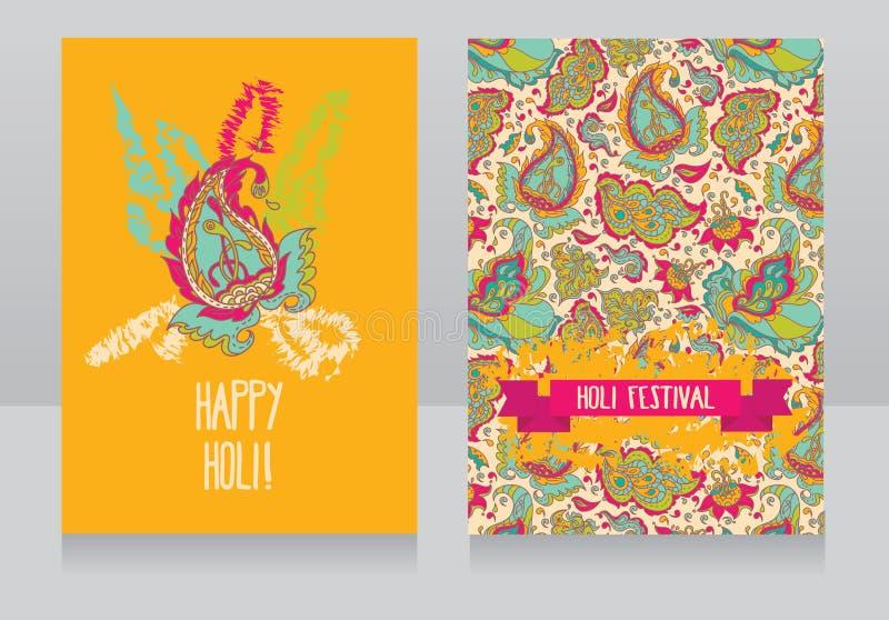 Carte felici di festival di holi illustrazione di stock
