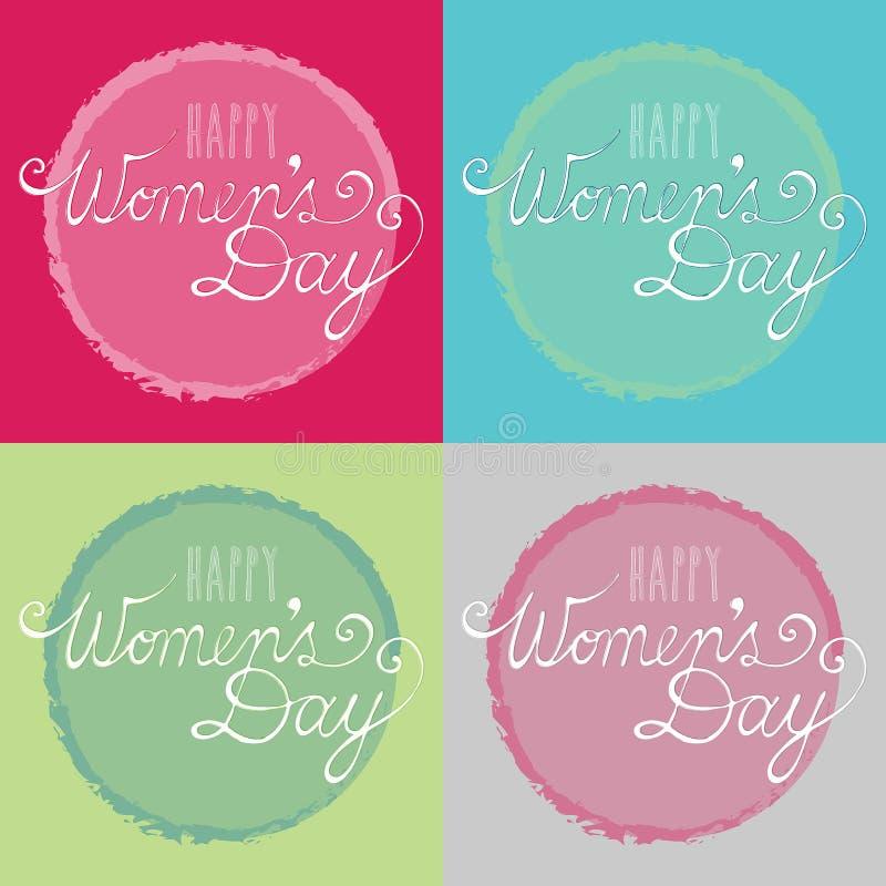 Carte felici di giorno del ` s delle donne, fatte dall'illustrazione originale di tipografia fotografia stock