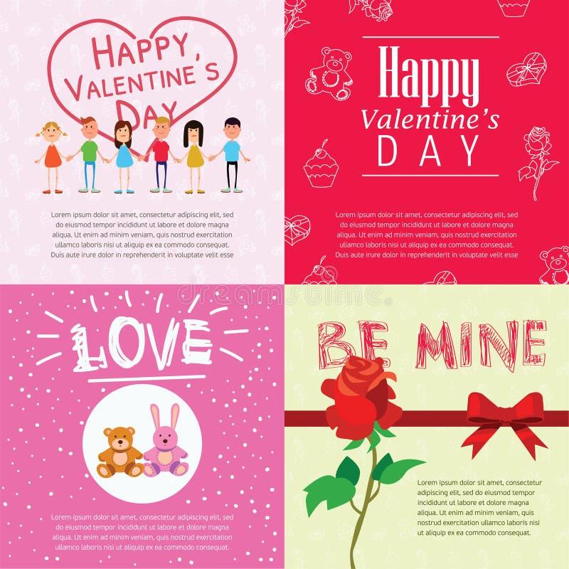 Carte felici di giorno di biglietti di S. Valentino con le coppie del fumetto illustrazione vettoriale