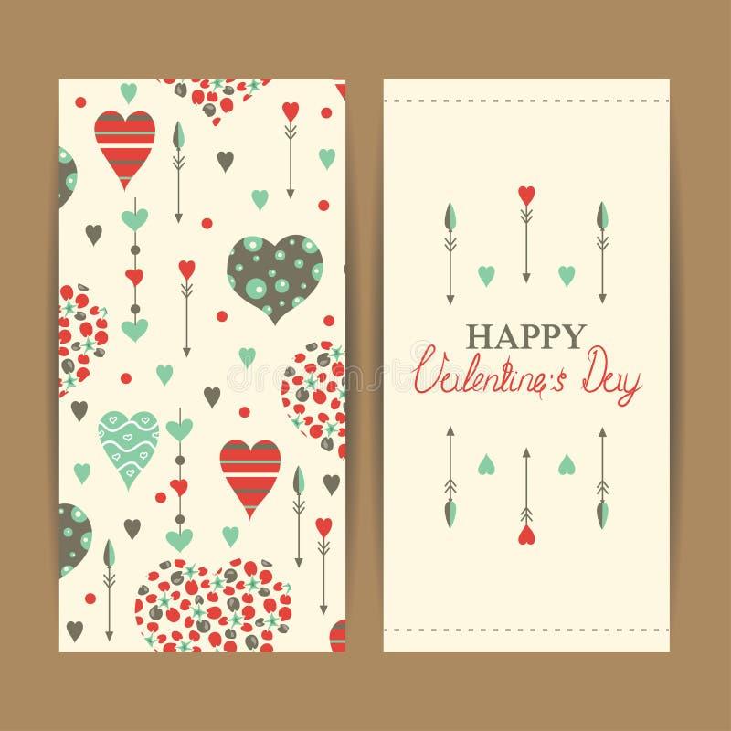 Carte felici di San Valentino con i cuori illustrazione di stock