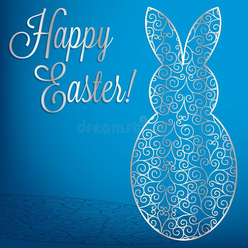Carte Filigree bunny Happy Pâques illustration stock