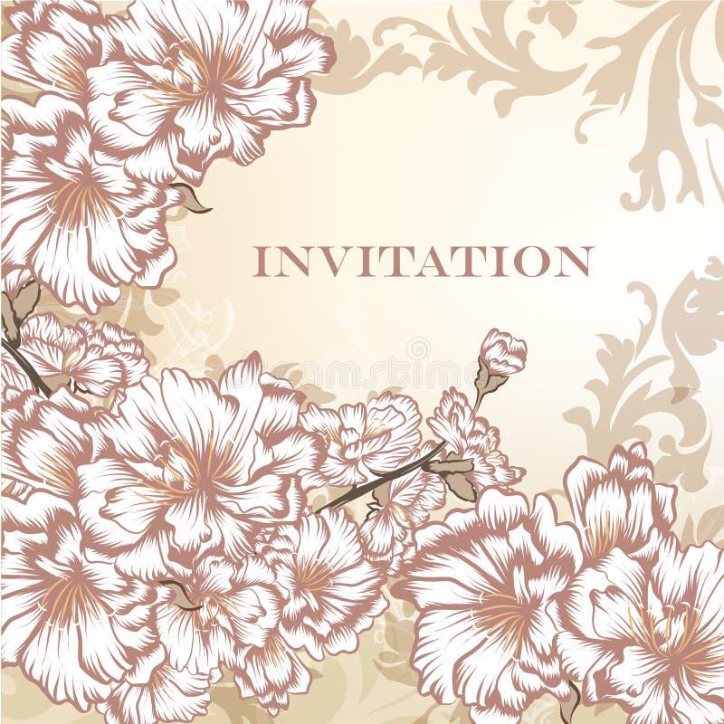 Carte florale élégante d'invitation de vecteur illustration stock