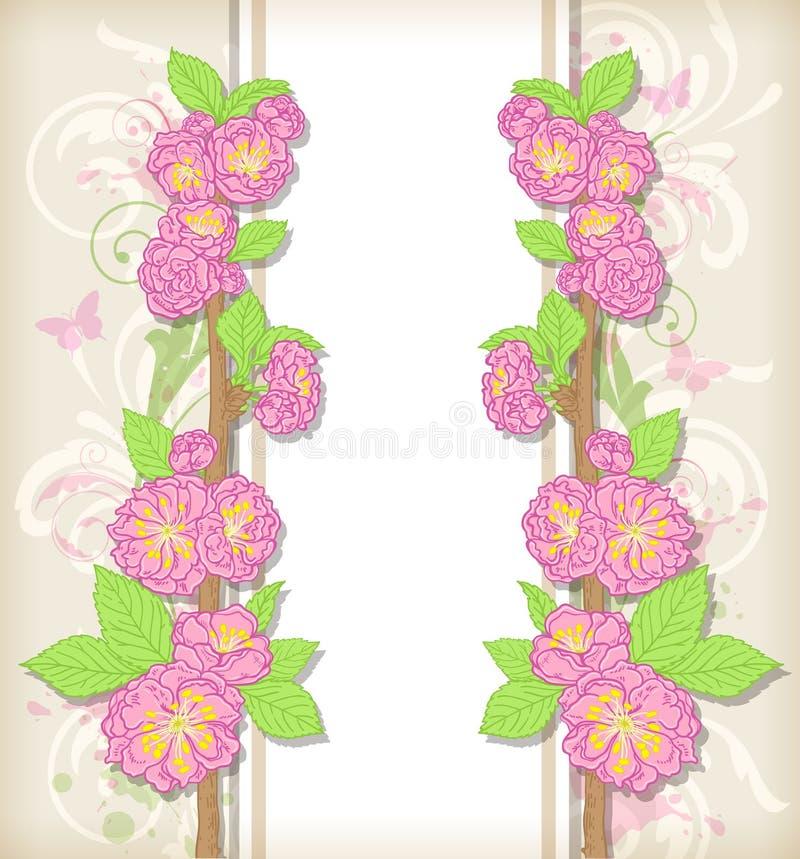 Carte florale avec des fleurs de pêche illustration libre de droits