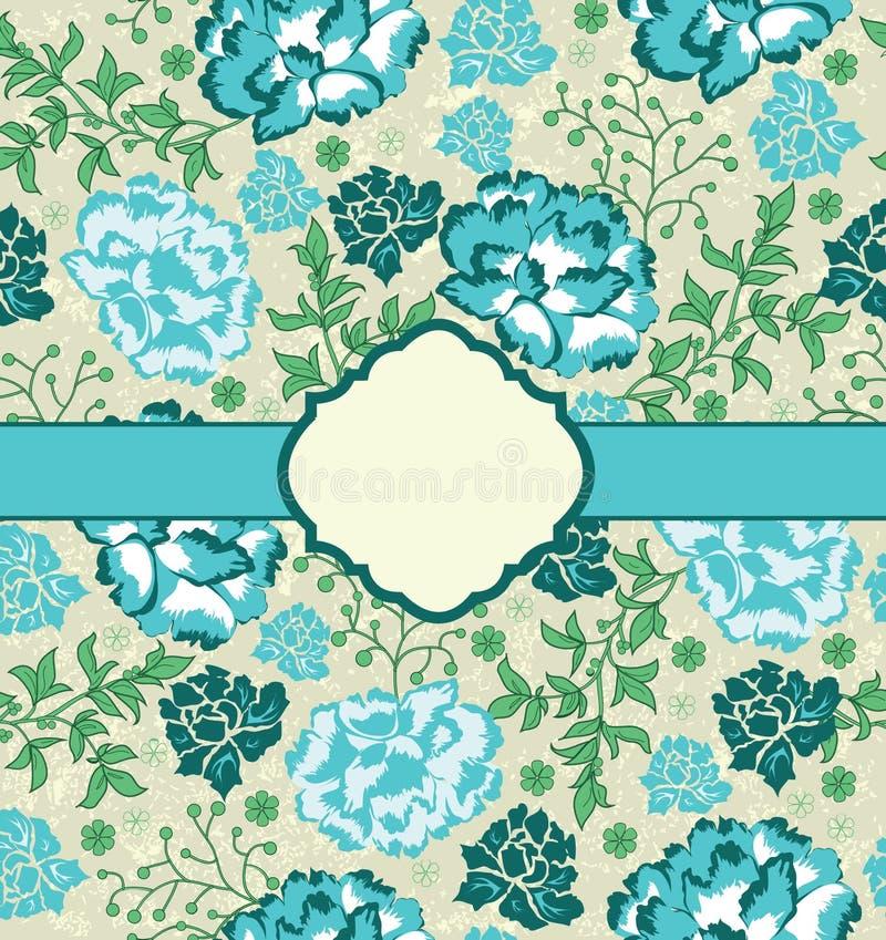 Carte florale bleue d'invitation de cru illustration libre de droits