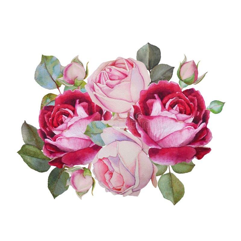 Carte florale Bouquet des roses d'aquarelle Illustration illustration libre de droits