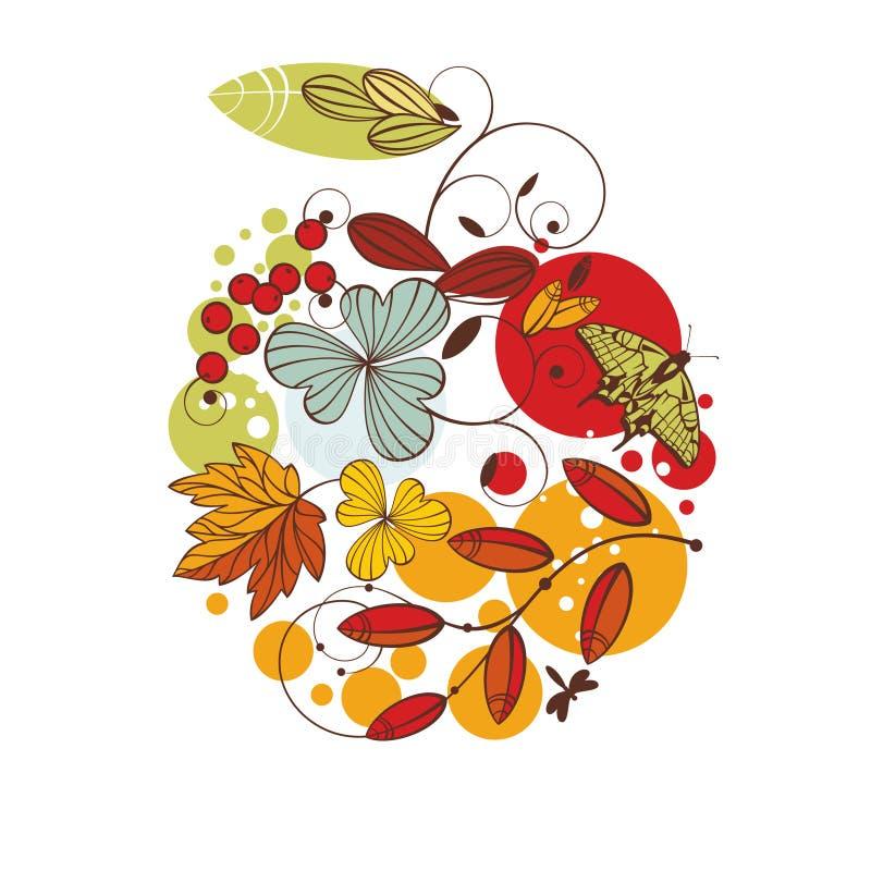 Carte florale d'automne illustration de vecteur