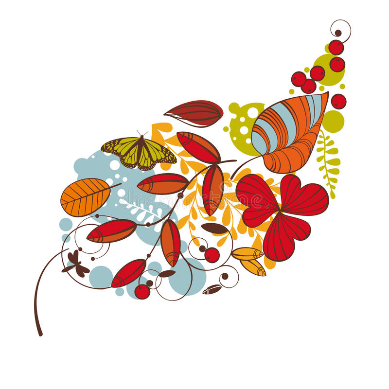 Carte florale d'automne illustration libre de droits