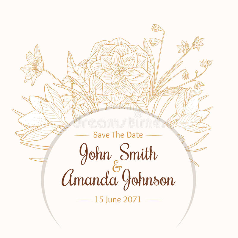 Carte florale d'invitation de mariage de dessin de cadre beige brun clair de frontière de vintage de vecteur avec les fleurs et l illustration libre de droits