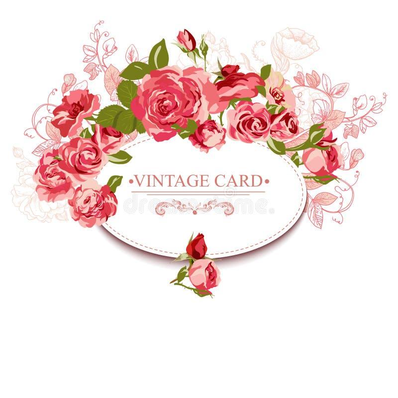 Carte florale de cru avec des roses illustration libre de droits