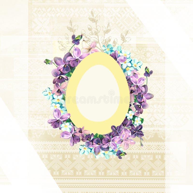Carte florale de Pâques Page de calibre avec l'inscription manuscrite Joyeuses Pâques Les insectes, les bannières, les affiches e illustration libre de droits