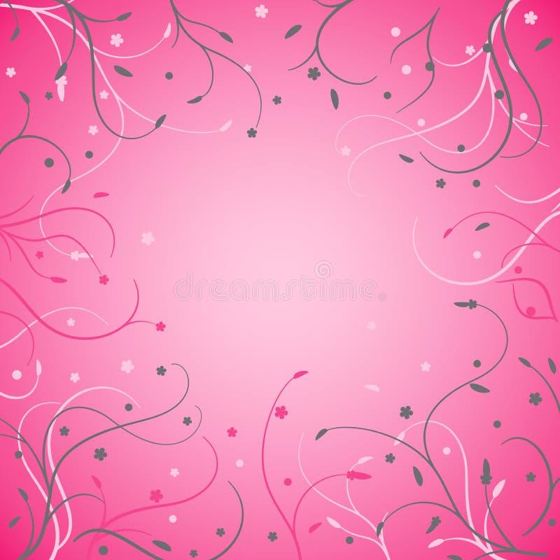 Carte florale de tiges minces sur le fond rose illustration de vecteur