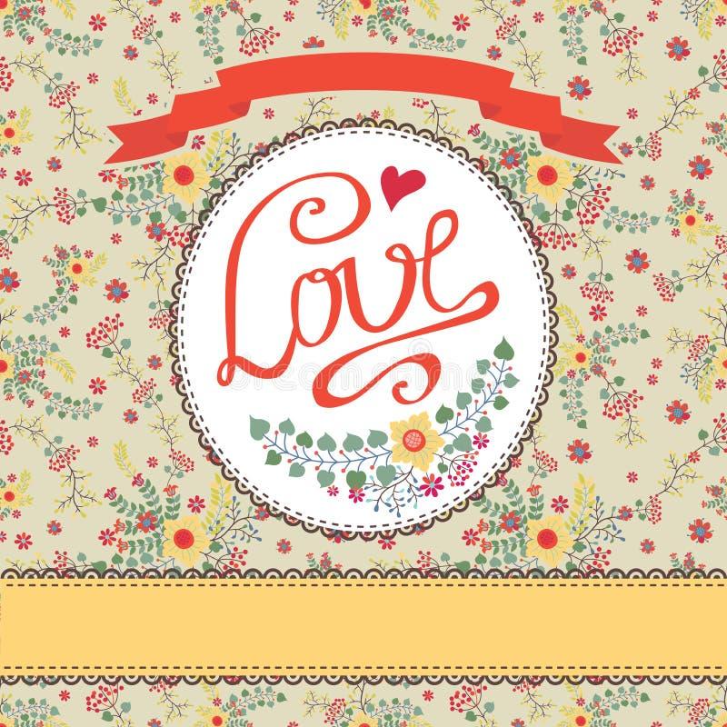 Carte florale de vintage avec les fleurs colorées Label d'amour illustration stock