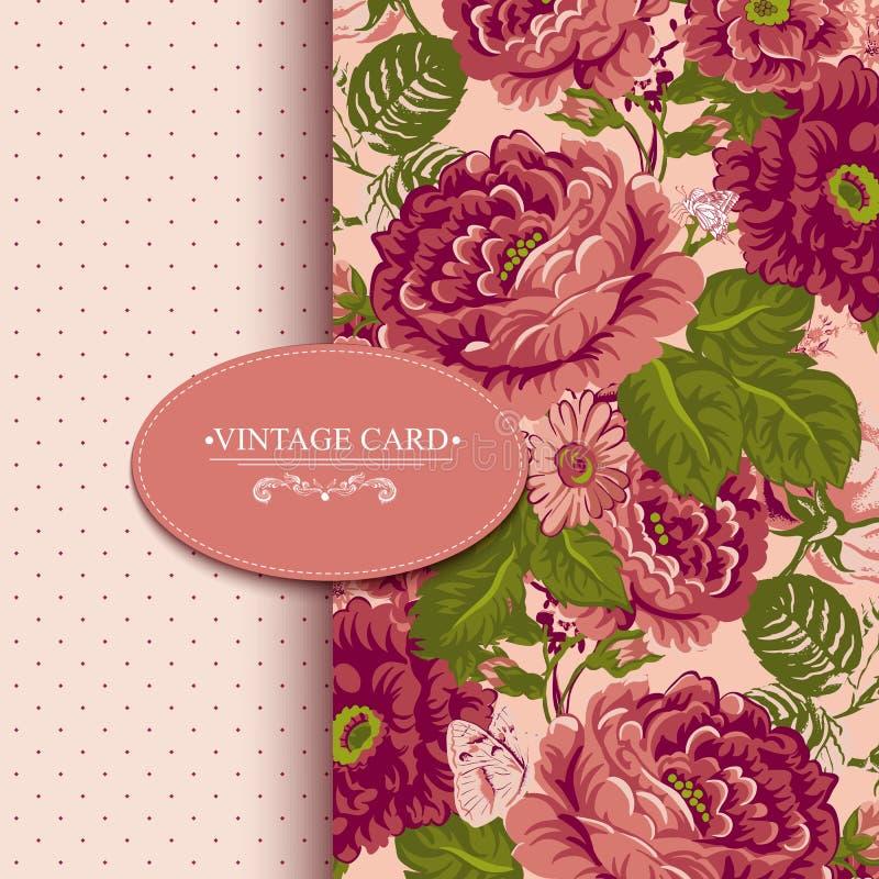 Carte florale de vintage d'élégance avec des roses illustration de vecteur