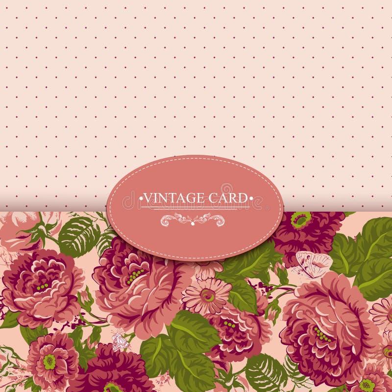 Carte florale de vintage d'élégance avec des roses illustration stock