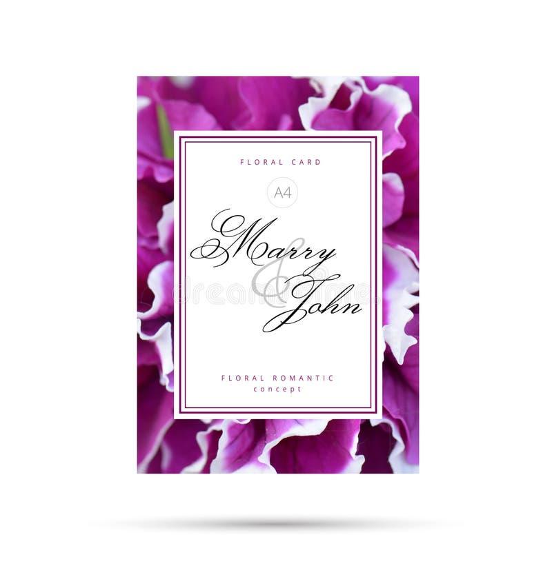 Carte florale fuchsia pourpre pour épouser l'invitation Concept romantique floral de fond de fleur pour votre conception d'insect image stock