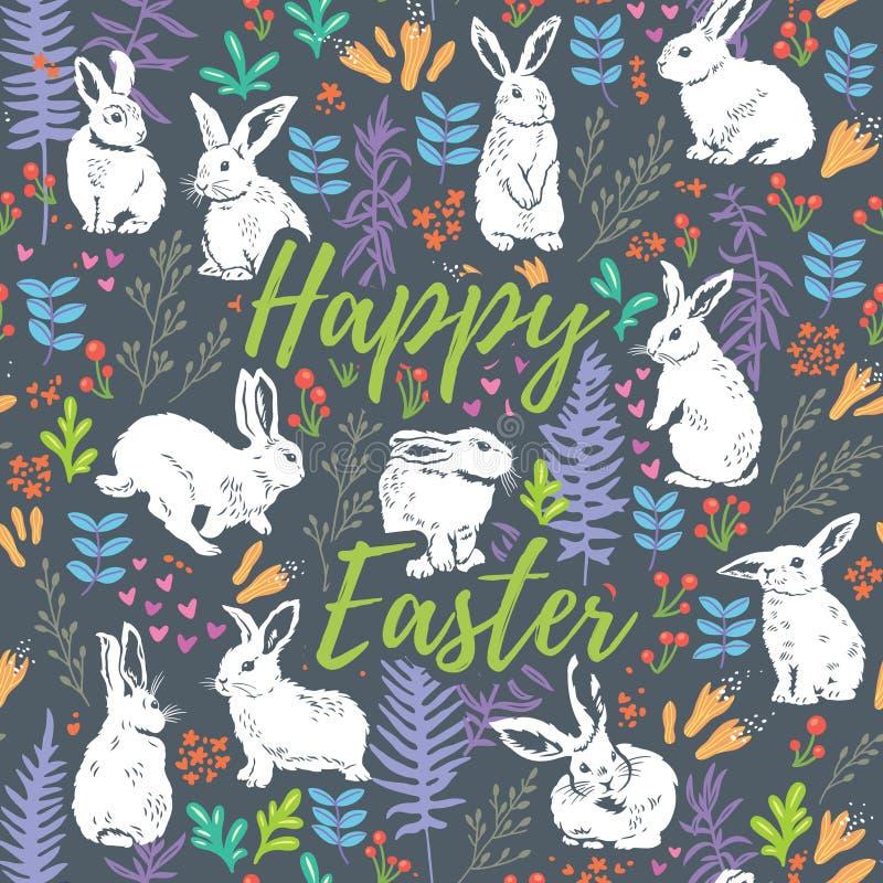 Carte florale heureuse de Pâques avec les lapins blancs illustration stock