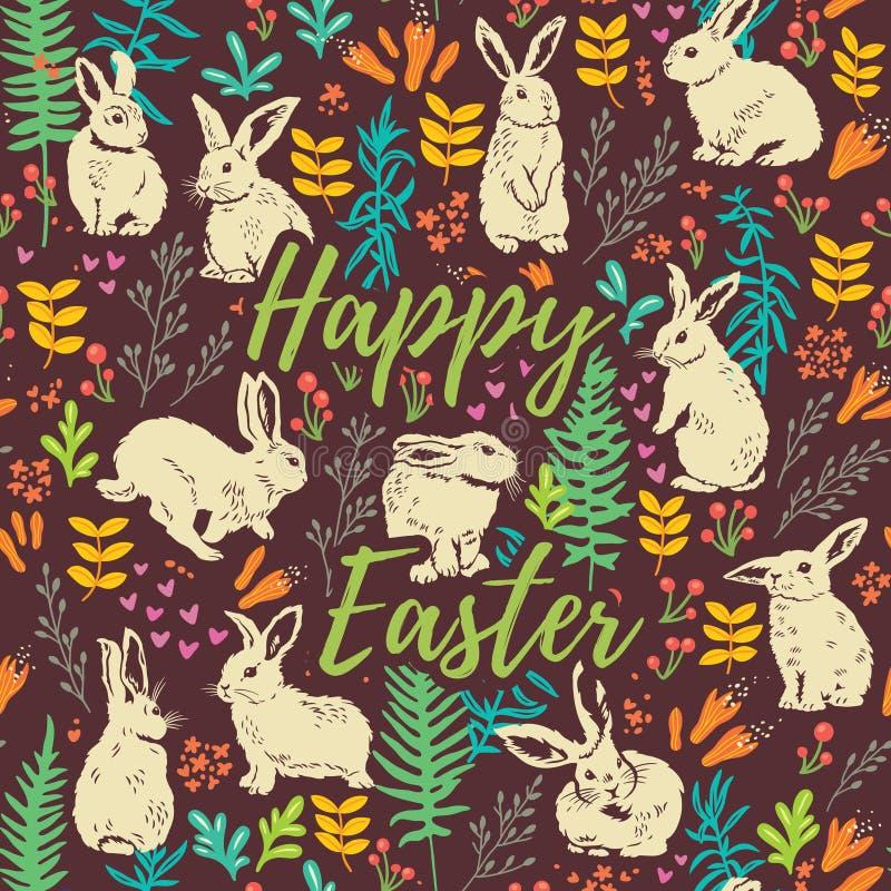 Carte florale heureuse de Pâques avec les lapins blancs illustration de vecteur