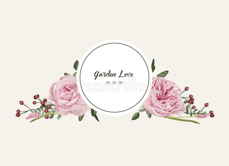 Carte florale romantique avec l'invitation de fleurs de vintage et le label de cercle illustration de vecteur