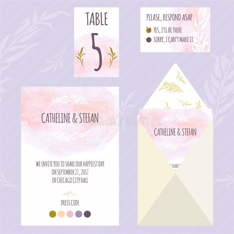 Carte florale template4 d'invitation de mariage d'aquarelle illustration stock
