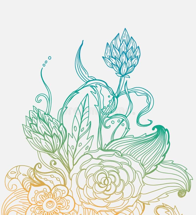 Carte florale tirée par la main de couleur romantique illustration stock