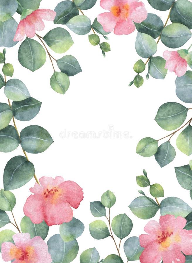 Carte florale verte d'aquarelle avec des feuilles et des branches d'eucalyptus de dollar en argent d'isolement sur le fond blanc illustration de vecteur
