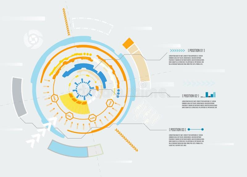 Carte futuriste abstraite, concept de pointe de technologie numérique d'ordinateur, conception infographic vide sur la lumière illustration stock