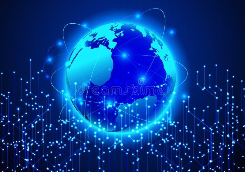 Carte futuriste abstraite de vecteur Réseau global, comput illustration de vecteur