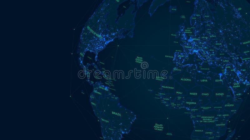 Carte futuriste du monde de réseau global de la science fiction, illustration de vecteur illustration de vecteur