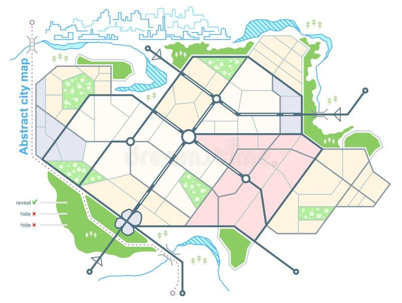 Carte générique de ville abstraite Milieu urbain avec le plan des rues de ville sur le plan Croquis architectural de la vue d'ens illustration libre de droits