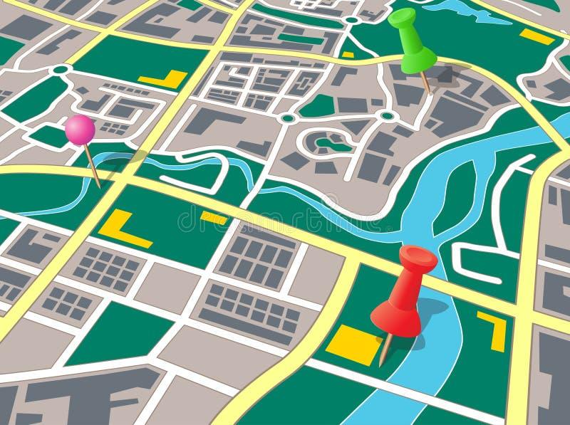 Carte générique de ville avec des broches de poussée illustration de vecteur
