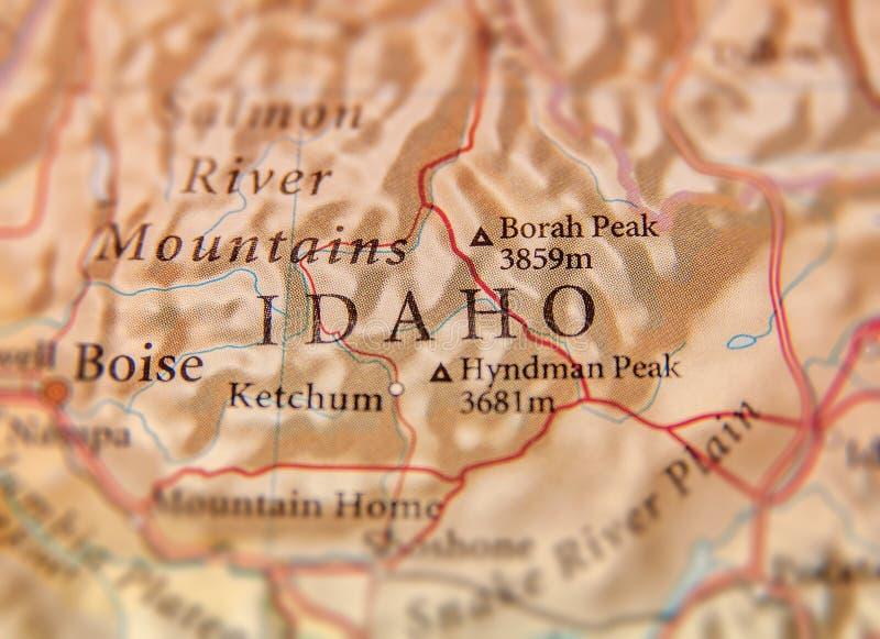 Carte géographique d'état d'USA Idaho avec les villes importantes photographie stock libre de droits