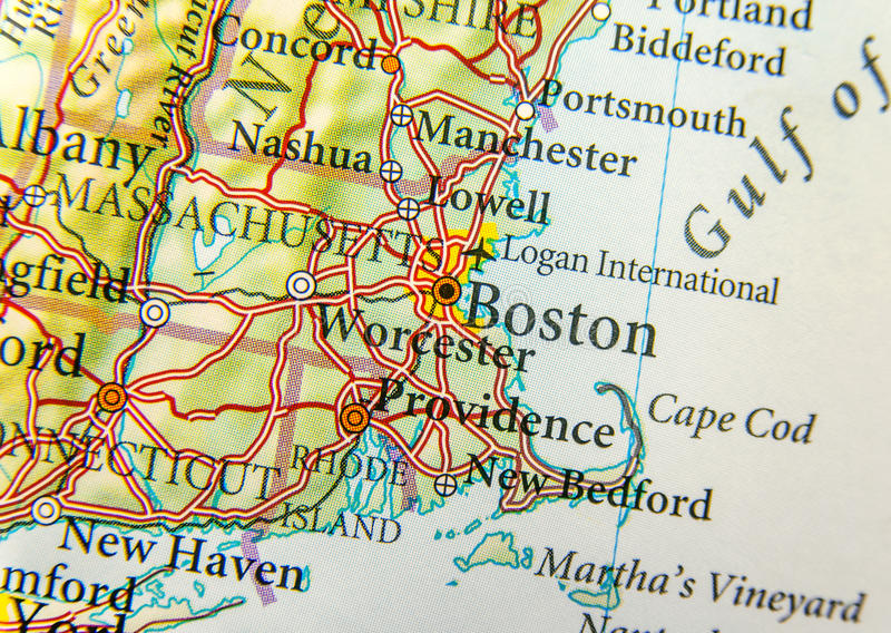 Carte Géographique De Fin De Boston Photo stock   Image du état