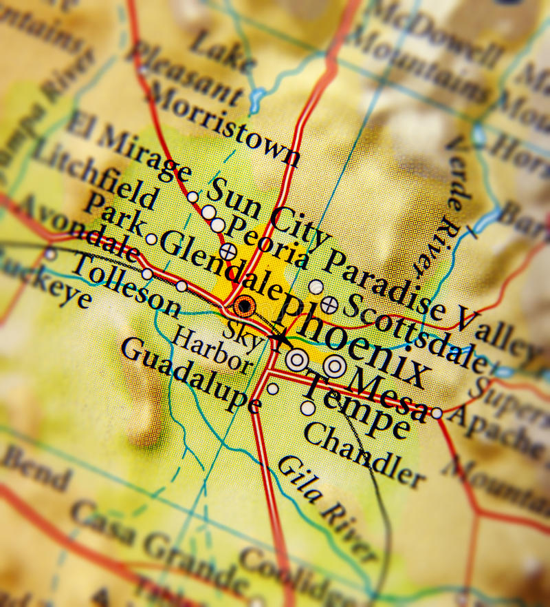 Carte géographique de fin de ville de Phoenix photographie stock libre de droits