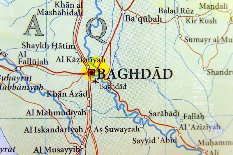 Carte géographique de l'Irak avec la ville de Bagdad de capitale images libres de droits