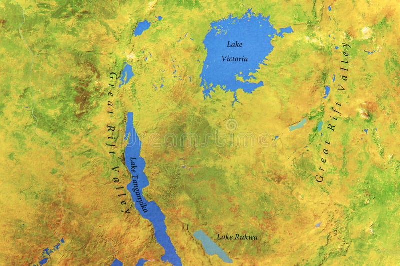 Carte Géographique De L'Ouganda Et Du Lac Victoria Image stock