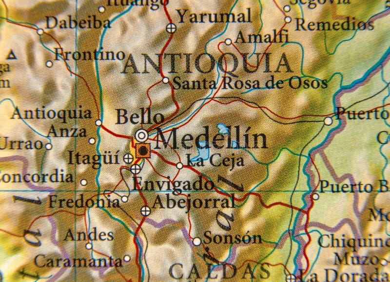 Carte géographique de pays de Colombie avec la ville de Medellin photo libre de droits