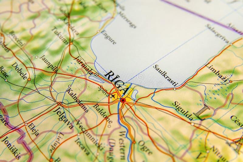 Carte géographique de pays européen Lettonie avec la ville Riga photos stock