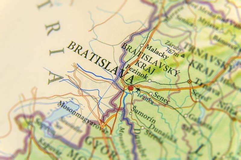 Carte géographique de pays européen Slovaquie avec la ville de Bratislava photos libres de droits