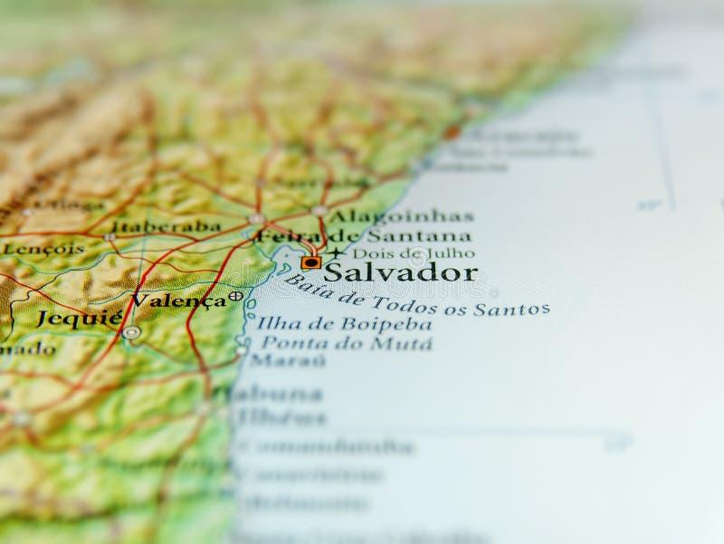 Carte géographique du Brésil avec la ville de Salvador photo stock