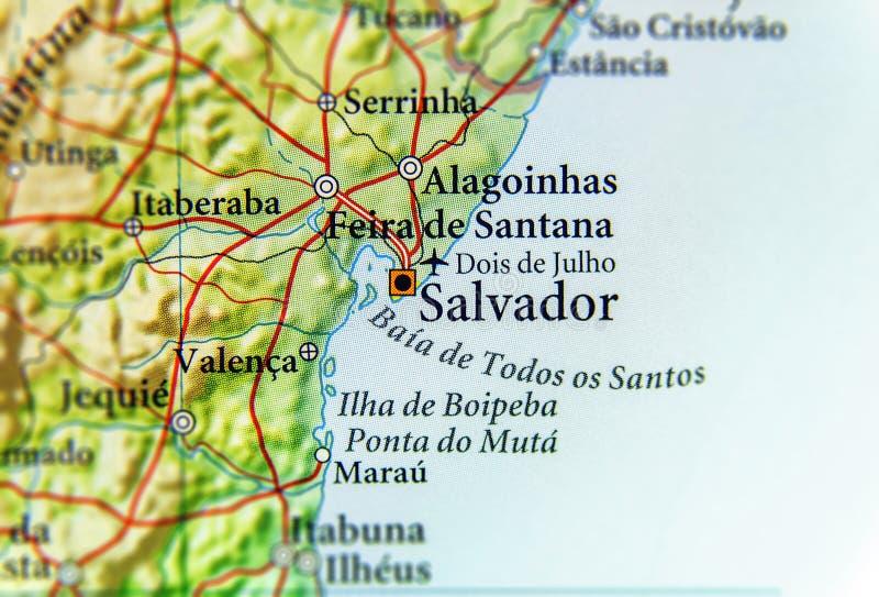Carte géographique du Brésil avec la ville de Salvador images stock