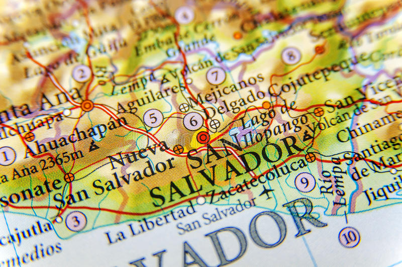 Carte géographique du San Salvador de ville du Salvador étroit photos stock