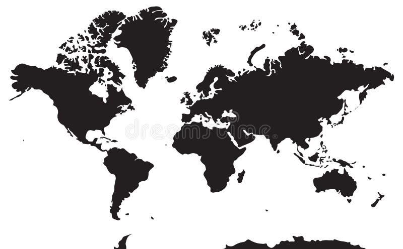 Carte géographique noire et blanche Continents : L'Asie, l'Europe, Nort illustration stock