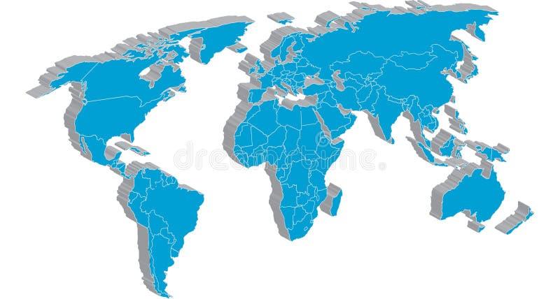 Carte globale avec les bords détaillés de pays illustration stock