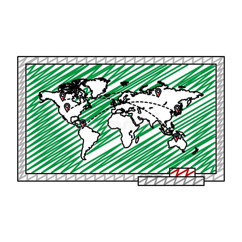 Carte globale de griffonnage avec des destinations de symboles d'emplacements illustration stock