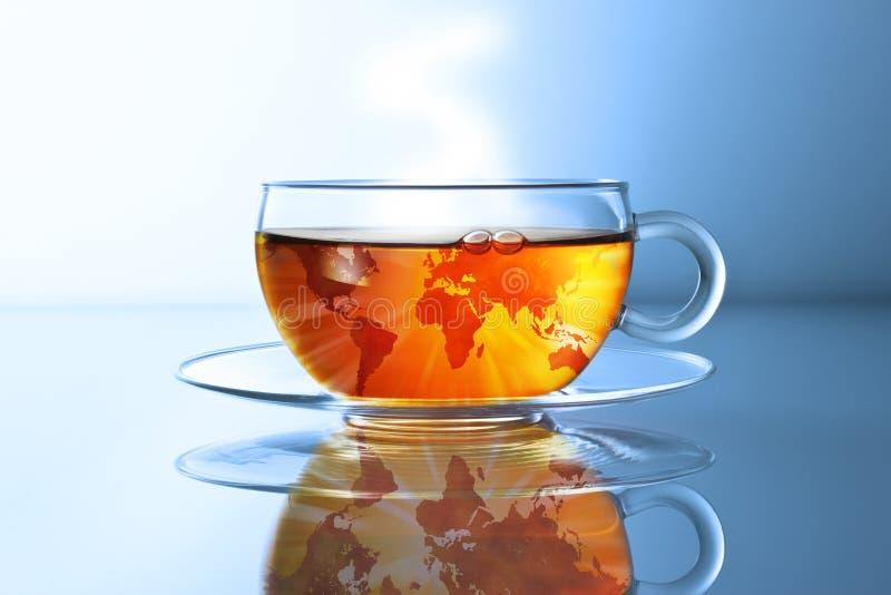Carte globale du monde de thé photographie stock libre de droits