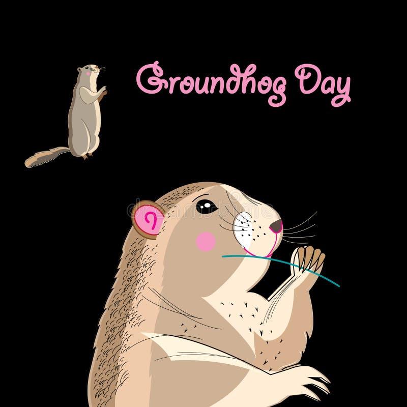 Carte graphique pour le jour de Groundhog illustration de vecteur