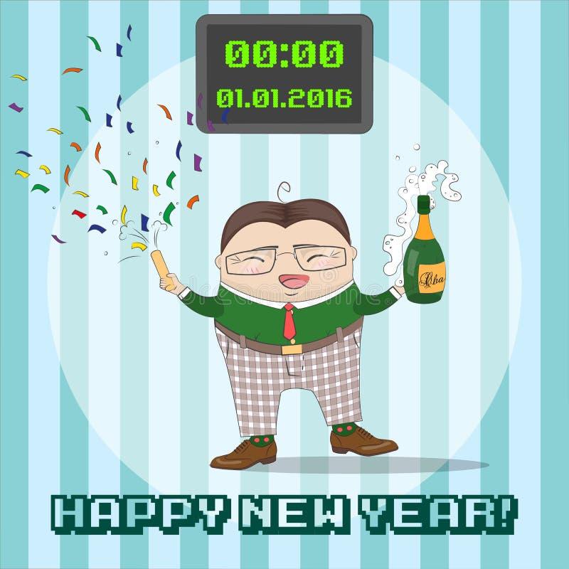 Carte greating de nouvelle année avec le personnage de dessin animé drôle illustration libre de droits