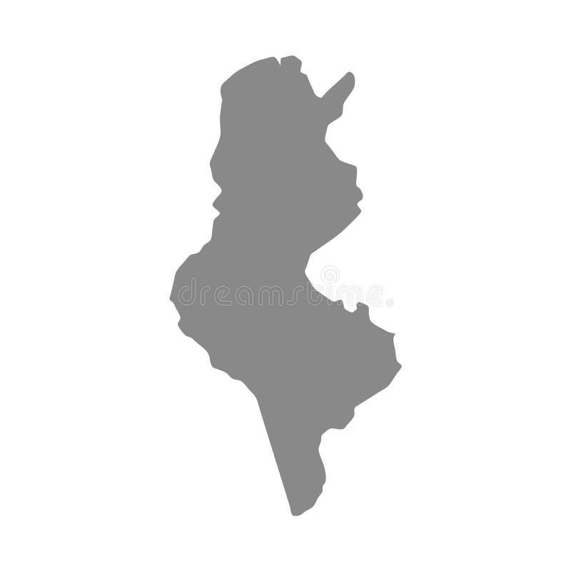 Carte grise détaillée de vecteur de haute – Tunisie l'afrique illustration stock