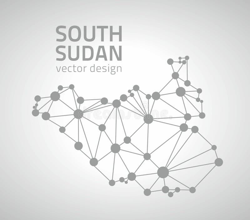 Carte grise de vecteur de point du sud du Soudan illustration de vecteur
