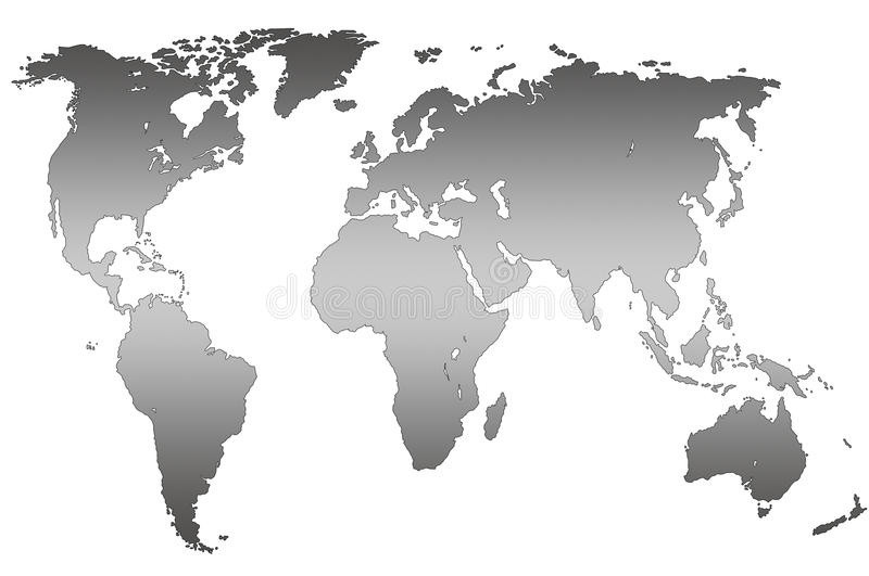 Carte grise du monde de gradient, d'isolement illustration libre de droits
